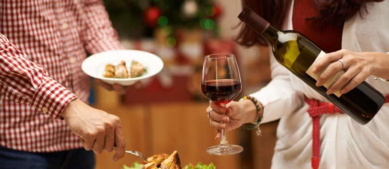 Couple having christmas dinner