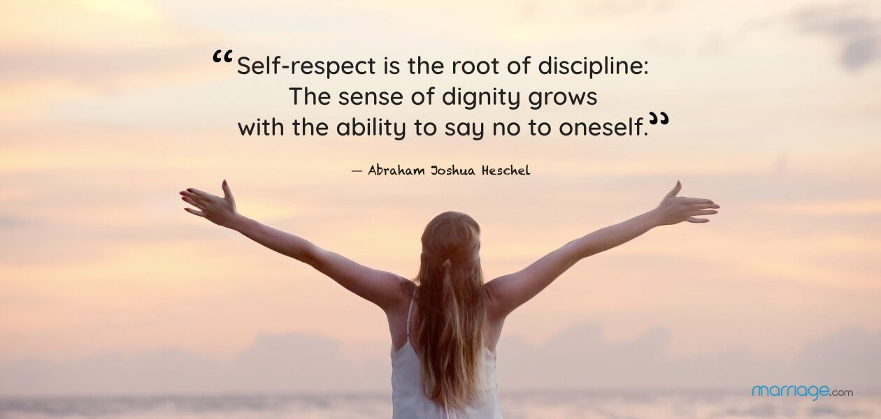 """""""Self-respect is the root of discipline: The sense of dignity grows with the ability to say no to oneself."""" ― Abraham Joshua Heschel"""
