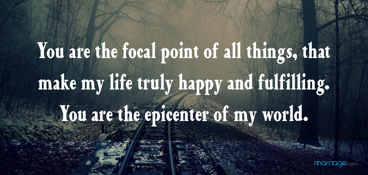 You are the focal point of all things, that make my life truly happy and fulfilling. You are the epicenter of my world.