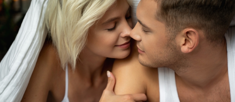 Lovely Couple Having Romantic Time At Home Stock Photo