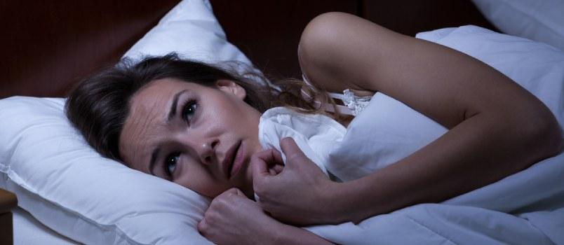 Afraid Women At Bedroom Under In Blanket Indoor