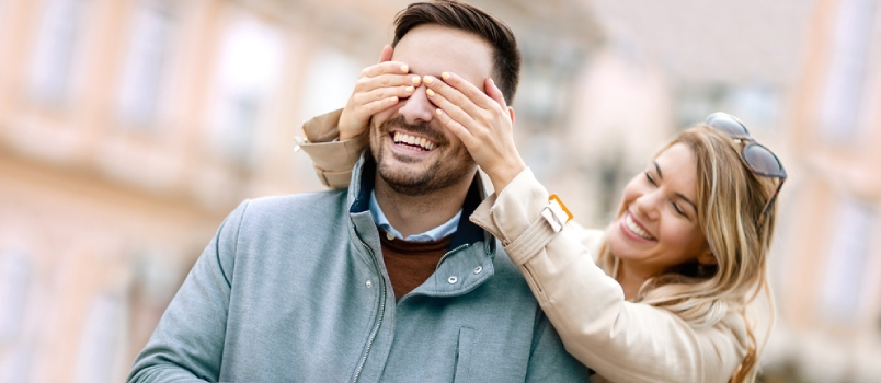 Woman Surprising His Boyfriend