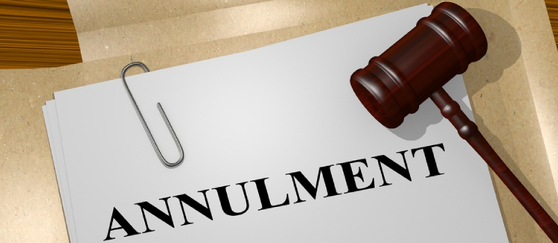"3d Illustration Of ""Annulment"" Title On Legal Document"