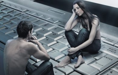 Conceptual Photo Of A Couple Sitting On Laptop Emotional Attached Each Other