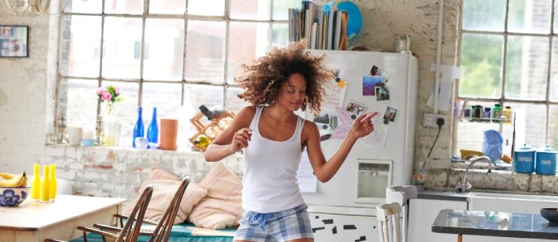 Sexy Brazilian Girl Dancing At Home Wearing Checked Pajamas Shorts Throwing Hair Back