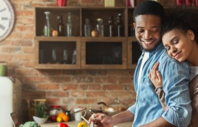 Loving Black Wife And Husband Preparing Dinner