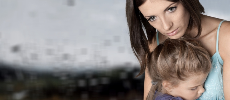 Thoughtful Upset Women With A Scared Little Girl