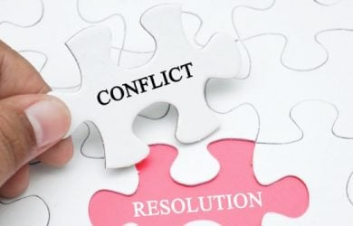 Missing Puzzle With A Word Conflict Resolution. Business And Finance Concept