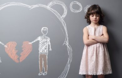 Depicted Divorce Of The Parents On The Grey Wall With Chalk. Kid Suffers After The Divorcement