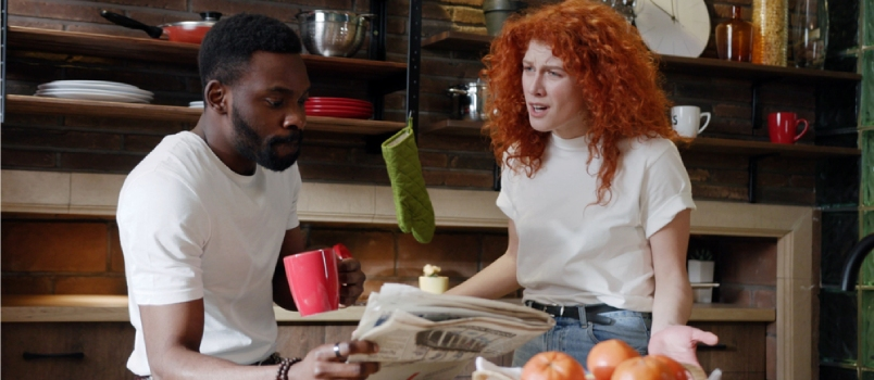 Young Couple Quarrels In The Kitchen Man African American And Woman Scream In Frustration Annoyed Unhappy Relationship