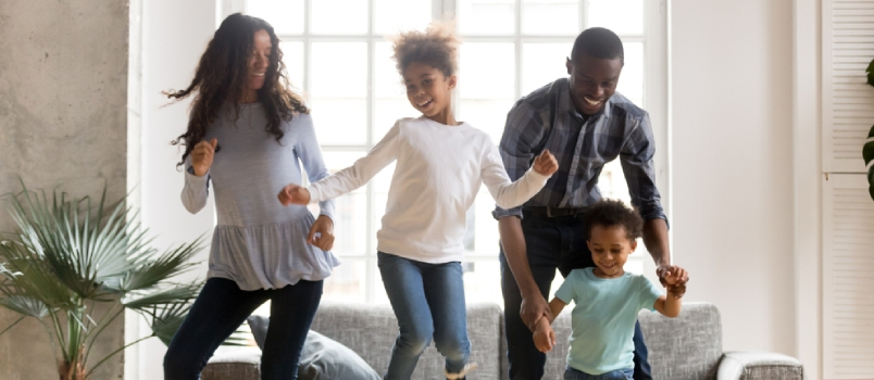 Full Length Black African Whole Family Have A Fun