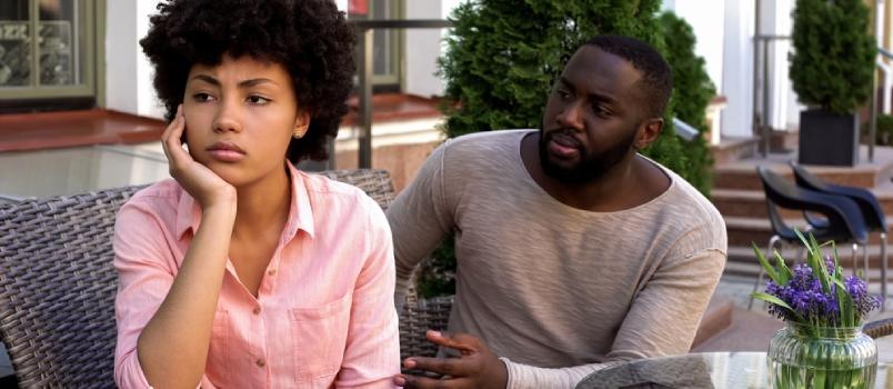 Upset Offended Girl Ignoring Boyfriend Turned Away Misunderstanding Conflict