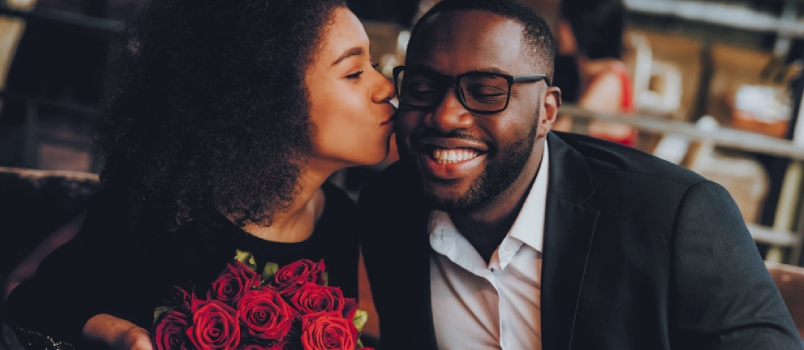 African American Couple Dating In Restaurant Romantic Couple In Love Dating  Cutel Man And Girl In A Restaurant Making Order  Romantic Concept