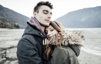 Beautiful Couple Hugging Together Love Concept Mountain And Lake