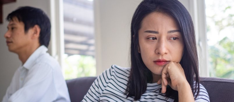Beautiful Asian Women Think Or Upset About Love Problems Want To Divorce