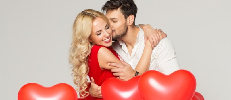 Wonderful Couple With Love Shape Balloon Studio Photograph