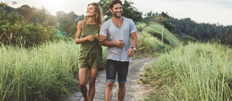 Handsome And Beautiful Walking Together Field Smiling