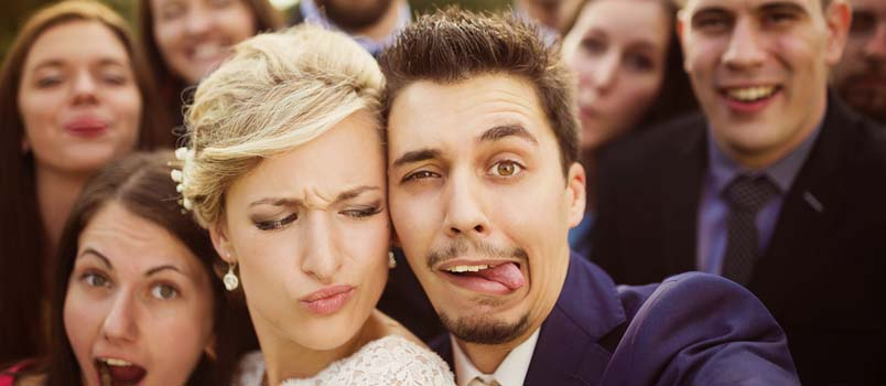 Newlywed Couple With Funny Face In Wedding Ceremony
