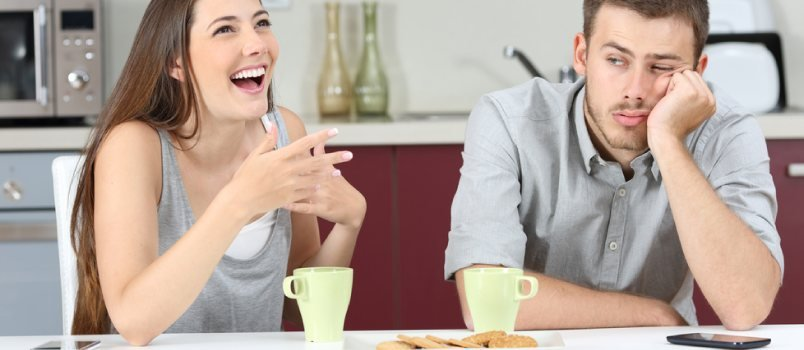 Man Not Interested While Girl Is Talking Continues Both Is On Cafe Dating