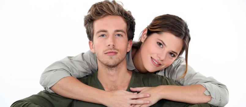Wonderfull Couple Lady Lying On Men Shoulder Happy Lovely Concept