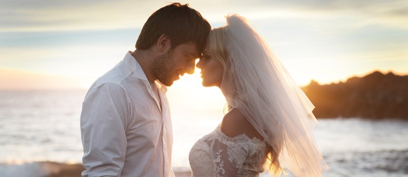 Groom And Bride Point Head To Head Lovely Sunset Background Loving Concept