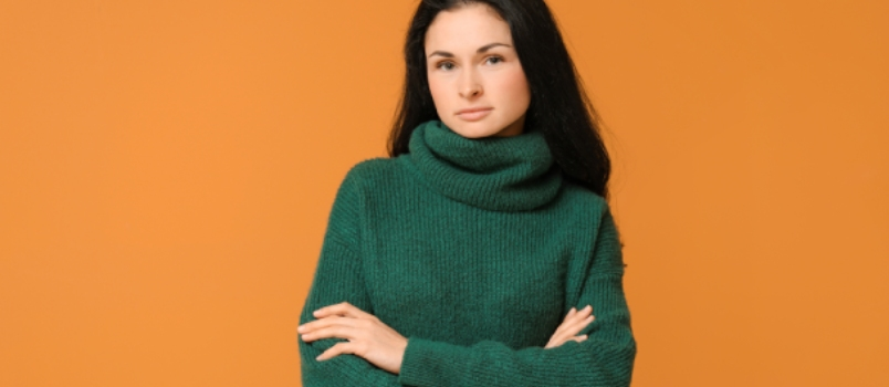 Beautiful Young Woman on Color Background