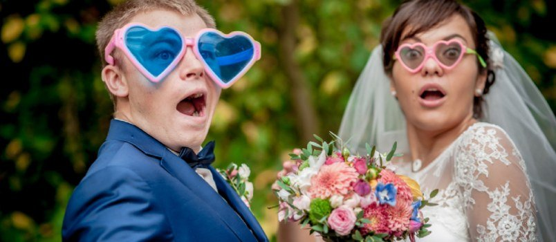 Funny Wedding Couple Making Funny Moment
