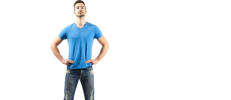 Confident Proud Young Male In Akimbo Pose. Full Body Length Isolated Over White Background