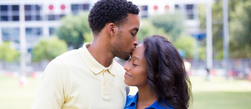 Closeup Portrait Of A Young Couple, Guy Holding Woman And Kissing Face, Happy Moments
