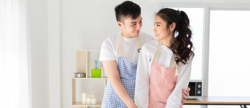 Asian Man And Asian Woman Cooking Costume In Kitchen Room Healthy Relationship Concept