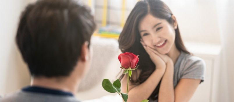 Asian Women Holding Roses In Hand And Smiling Happy Loving Relationship Concept