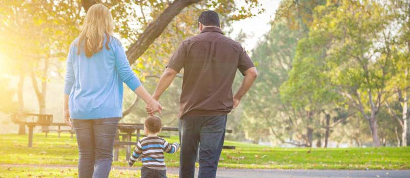 Walking with your little one outside is the best way to relax and connect with your child