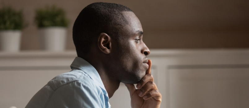 Profile Face Sad African Guy In Tension