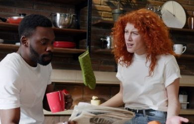 Young Couple Quarrels In The Kitchen Man African American And Woman