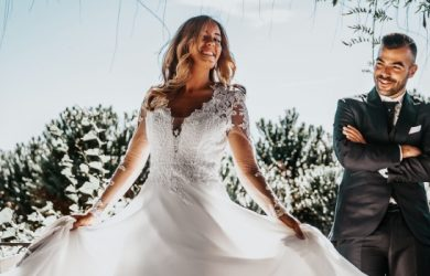 Bride Dancing With Groom Smiling Happy For The Marriage