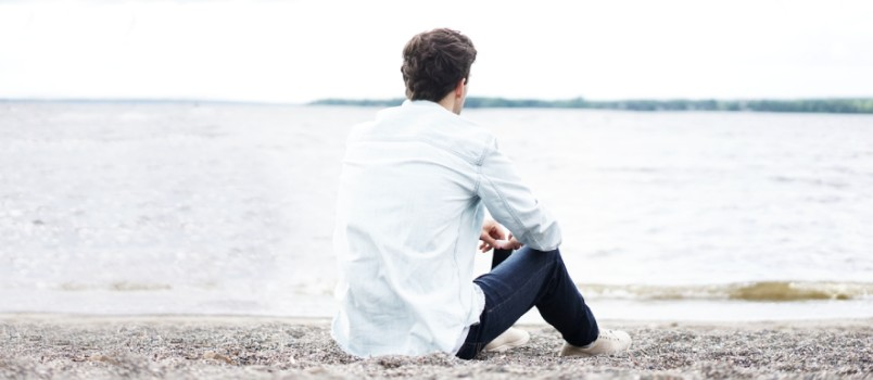 Alone Man Wearing White Dress Shirt Near Sea