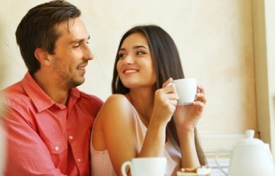 Young Couple In Cafe With Coffee