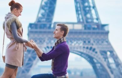 Romantic Engagement In Paris Man Proposing To His Beautiful Girlfriend Near The Eiffel Tower