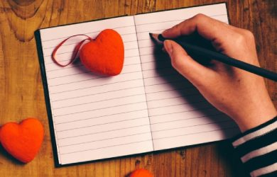 Woman Writing Love Letter Card For Valentines Day, Top View Of Female Hands, Retro Toned