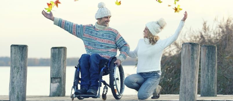Lovely Couple Have A Nice Autumn Day At The Lake Disabled Man In Wheelchair