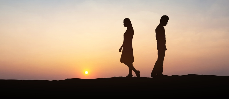 Silhouettes Of Couple Man And Woman Broken Heart In Nature Sunset