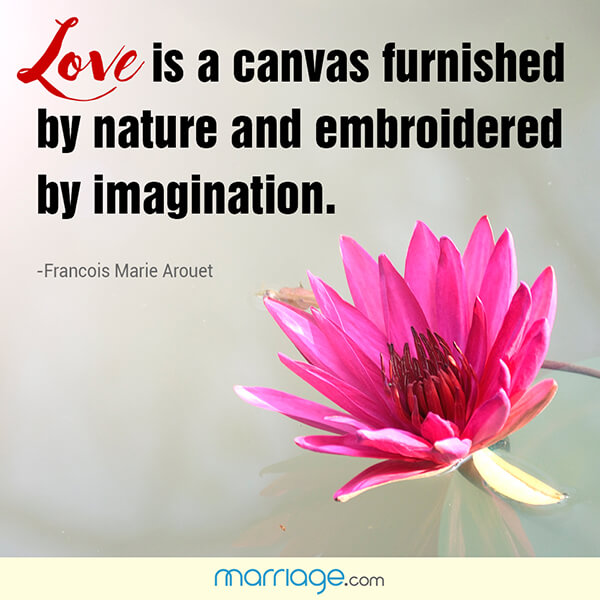 Love is a canvas furnished by nature and embroidered by imagination. - Francois Marie Arouet
