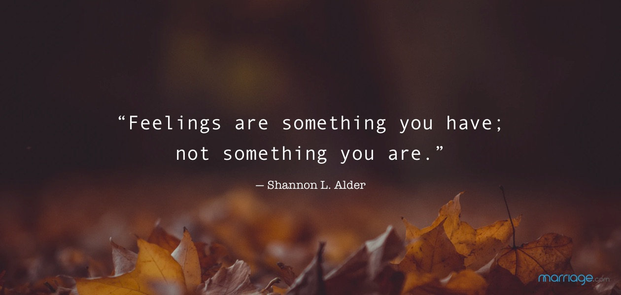 """Feelings are something you have; not something you are."" ― Shannon L. Alder"