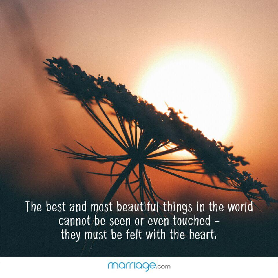 The best and most beautiful things in the world cannot be seen or even touched - they must be felt with the heart,