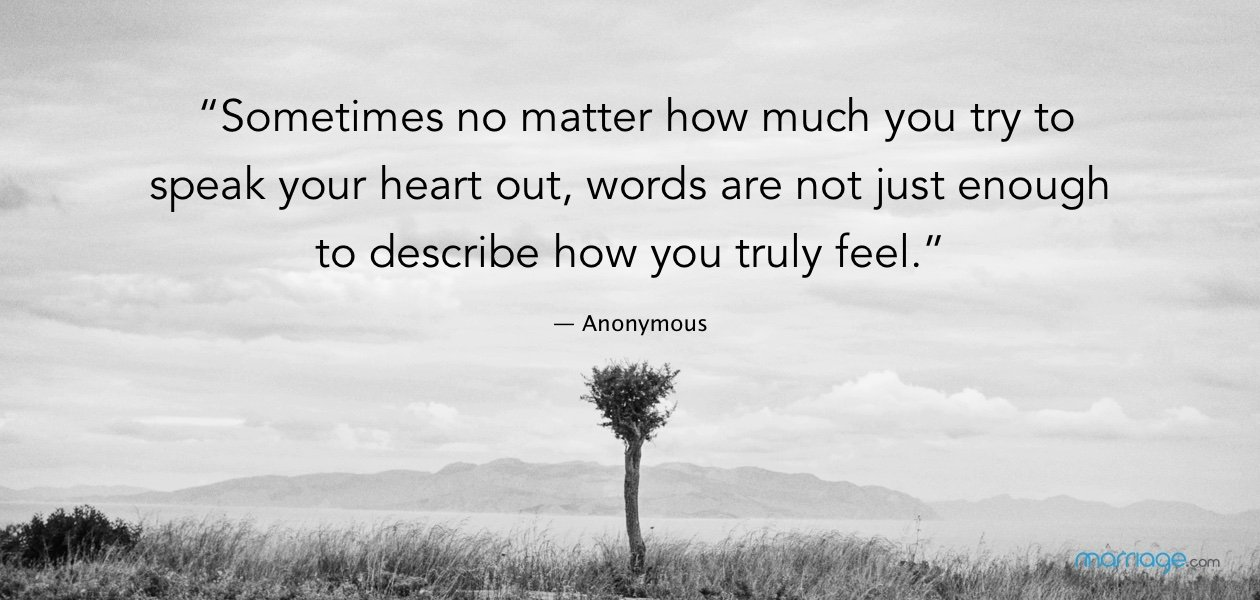 """""""Sometimes no matter how much you try to speak your heart out, words are not just enough to describe how you truly feel."""" — Anonymous"""