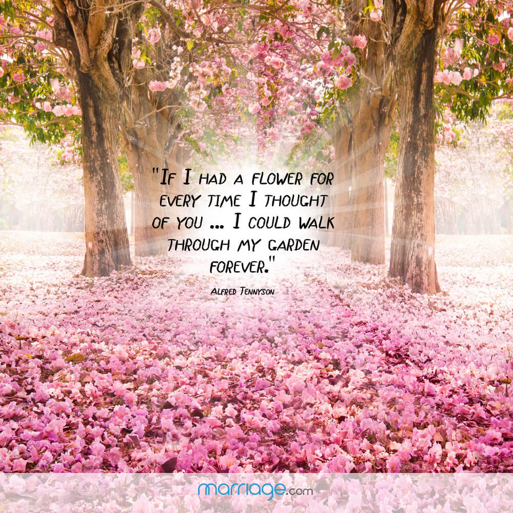 """If i had a flower for every time i thought of you ... I could walk through may garden forever.\"" - Alfred Tennyson"