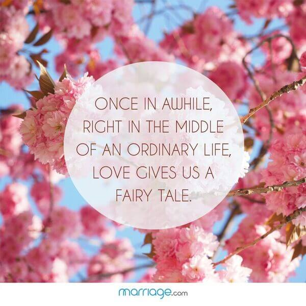 Once in awhile, right in the middle of an ordinary life, love gives us a fairy tale.