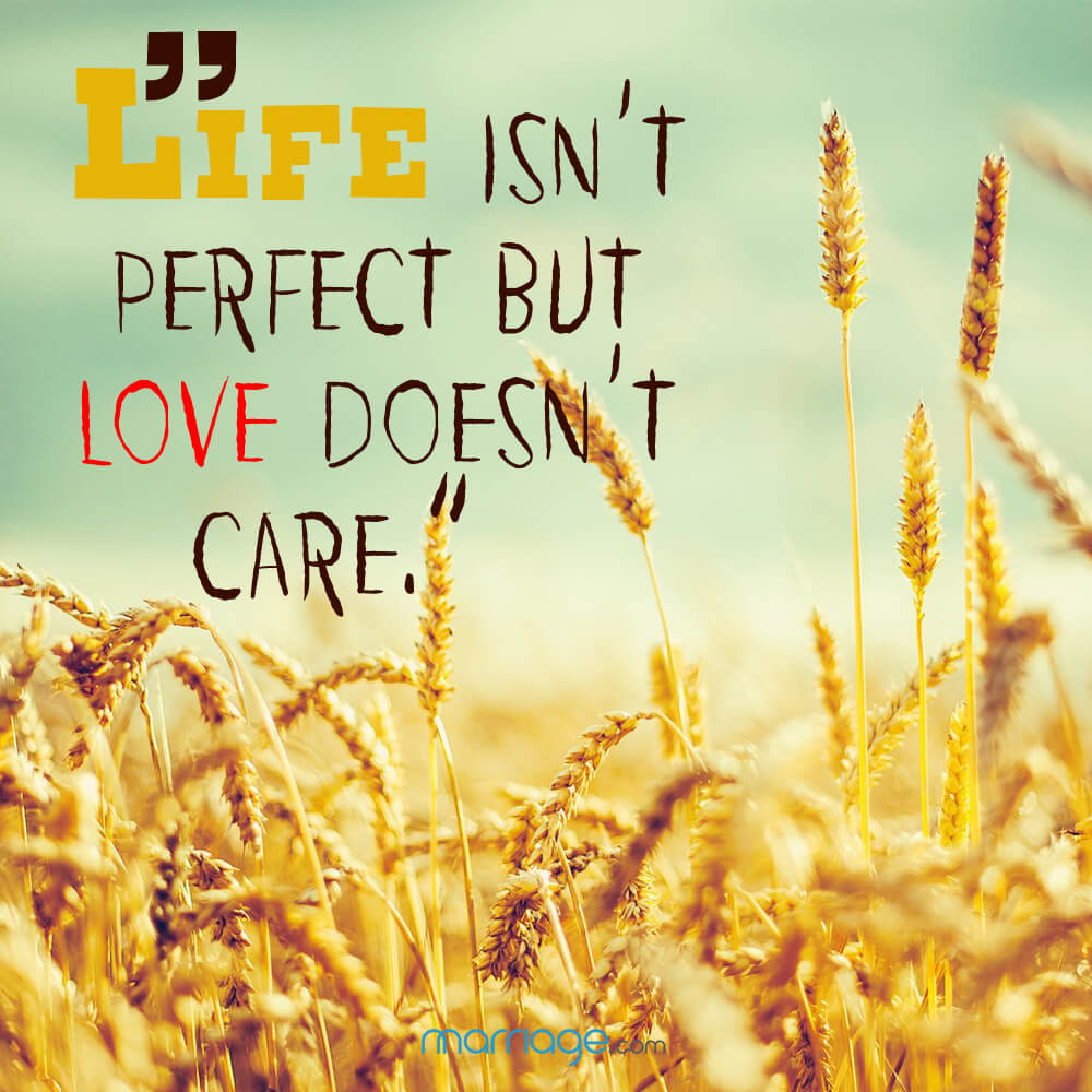 """Life isn\'t perfect but love doesn\'t care.\"""