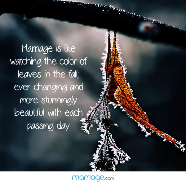 Marriage is like watching the color of leaves in the fall; ever changing and more stunningly beautiful with each passing day