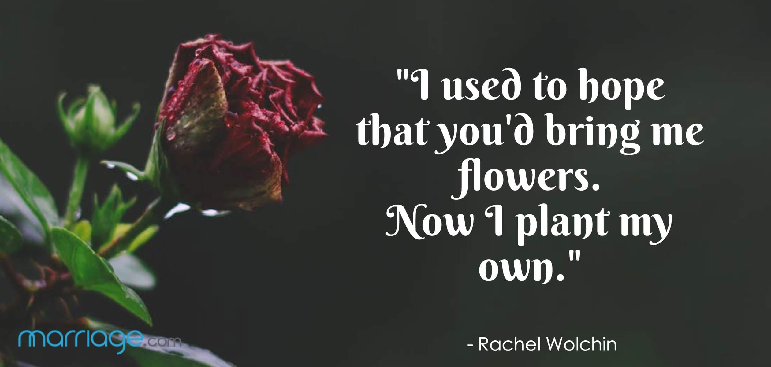 """I used to hope that you\'d bring me flowers. Now I plant my own.\"" - Rachel Wolchin"